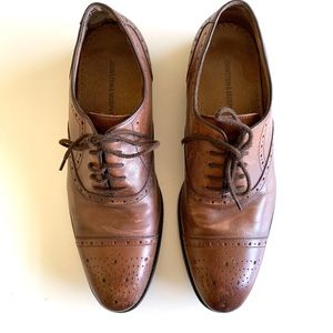 Johnston & Murphy Brown Leather Wingtip Oxfords